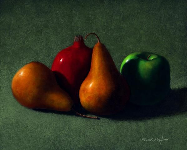 """""""AUTUMN FRUIT"""" is a 16 x 20 inch original oil painting on a hardboard panel. $1,600 framed.  Museum Quality Prints are available in eight sizes on your choice of two canvases, five canvas wraps, seven different papers, 1/4 inch acrylic and even on 1/16 inch polished metal!  5 x 7 inch greeting cards are also available."""