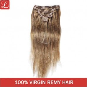 Straight Remy Human Hair #6 Brown Color 20clips 8pcs/set Clip In Hair Extensions http://www.latesthair.com/