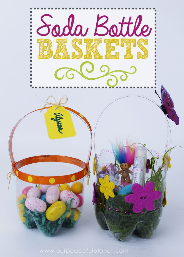 35 best gift basket container ideas images on pinterest advent plastic bottle diy easter baskets negle Images