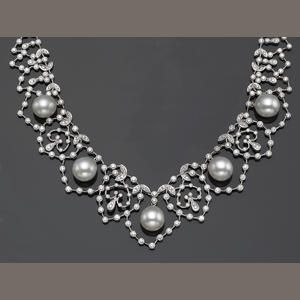 Cultured pearl, diamond and 18ct white gold necklace.  Bonhams.  Jewellery