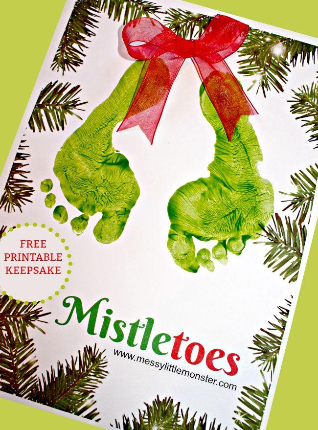 Mistletoes Footprint Keepsake Printable