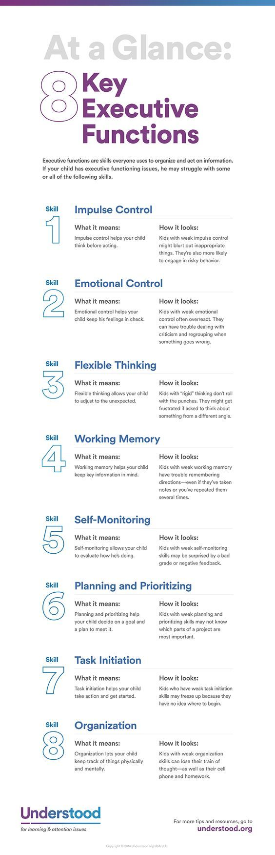 Executive functions let people plan, organize and complete tasks. Here's a closer look at this important set of skills—and how executive functioning issues can affect your child's everyday life.: