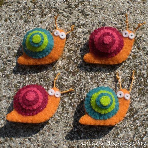 felt snail brooches