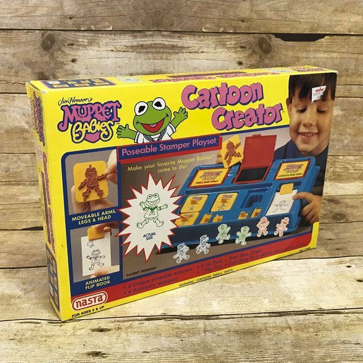 Muppet Babies Vintage 1989 Cartoon Creator Poseable Stamp Playset Complete #Nasta