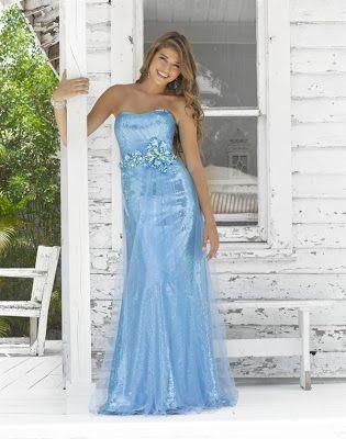 Vestido de Fiesta de Promoción de color Celeste o Azul Cielo