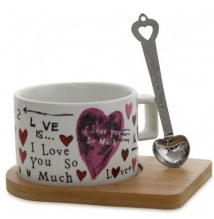 The easy to handle 3 X 2.2 inches in dimension stylish coffee mug will be perfect for your beloved. The dishwasher safe mug comes along with a 5 x 3.6 inches wooden tray along with stylish spoon on which a wonderful message is also engraved.