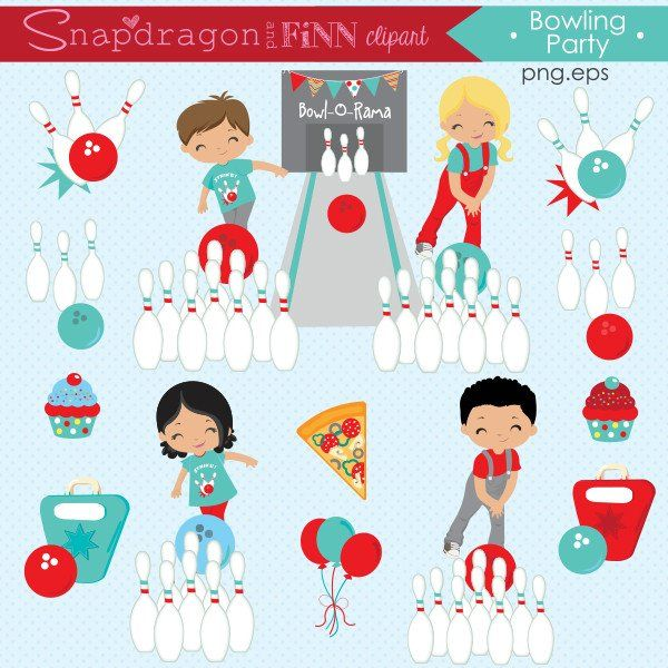Red & Blue Bowling Party Clipart