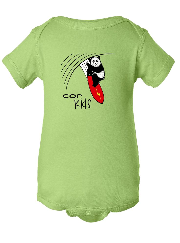 COR Kids Surfing Panda. Your baby will love this soft cotton onesie available in Newborn to 24 Months! #baby