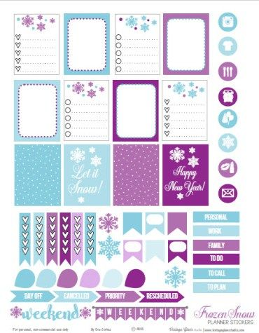 Frozen Snow Planner Stickers | Free printable preview