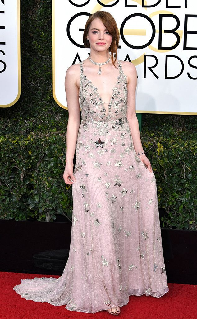 Emma Stone in Valentino at the 74th Annual Golden Globe Awards at The Beverly Hilton Hotel on January 8, 2017 in Beverly Hills, California.