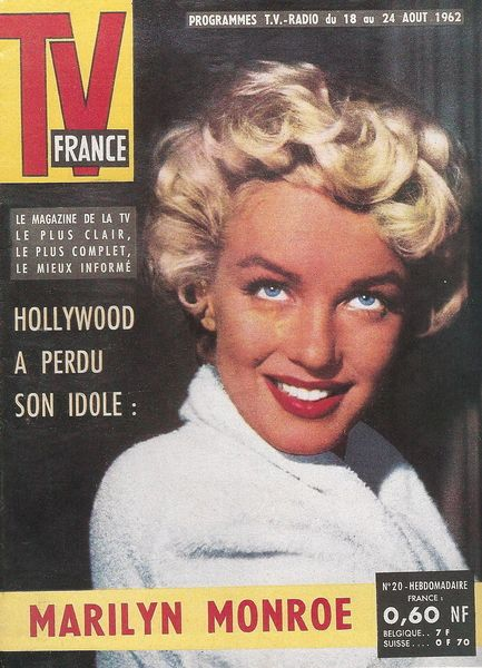 """TV France - August 18th 1962, magazine from France. Front cover photo of Marilyn Monroe on the set of """"The Seven Year Itch"""", 1954."""