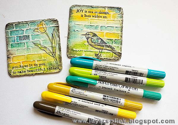 Layers of ink - Mini Art Panels with UTEE tutorial by Anna-Karin. with stamps by Wendy Vecchi, and Tim Holtz Distress Crayons.