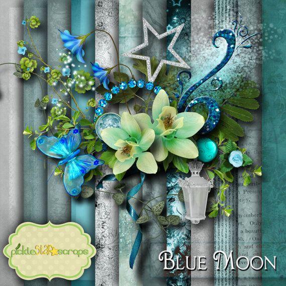 Blue Moon  Digital Scrapbook Kit  Printable by PickleStarScraps