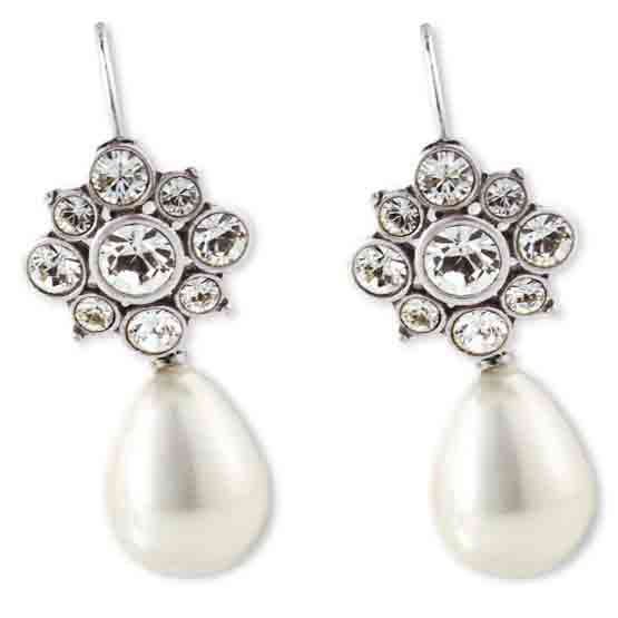 Flower Swarovski Crystal french wires (E2212) worn with our lustrous white pearl earring charms (E2331) (these come with standard french wires so can be worn alone)
