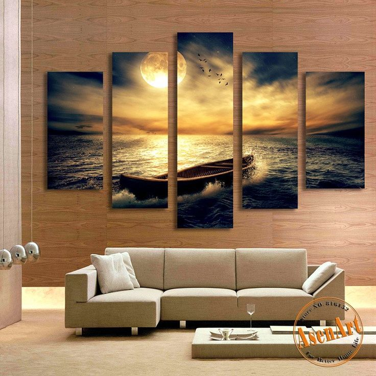 5 Panel Sunset Seascape Painting Single Boat Picture For Living Room Home Decor Wall Art Canvas