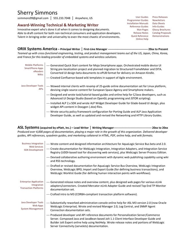 Sample Resume For Technical Writer  AtarprodInfo