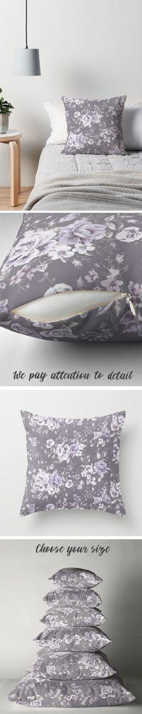 Vintage Floral Pillow, Ultra Violet pillow, Roses pillow, Mauve pillow, Purple pillow, Throw Pillow, Decorative Pillow, Floral Cushion #floral #floralpillow #homedecor #pillow #pillowcase