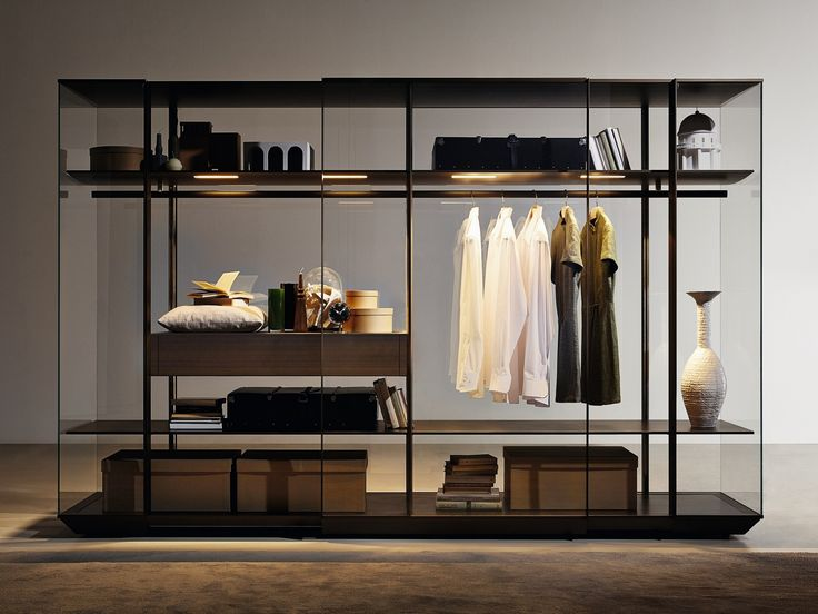 Glass and aluminium display cabinet / wardrobe KRISTAL by MOLTENI