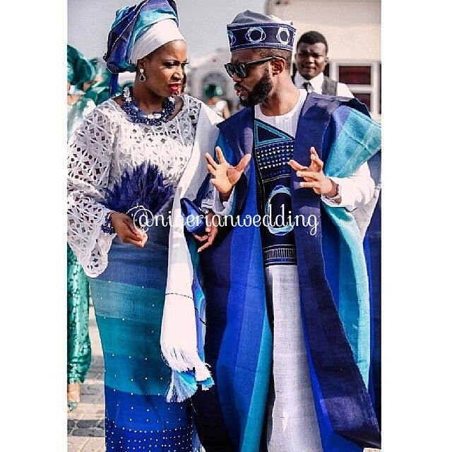 White buba lace with Blue #Ombre color Aso-Oke gele, ipele ...