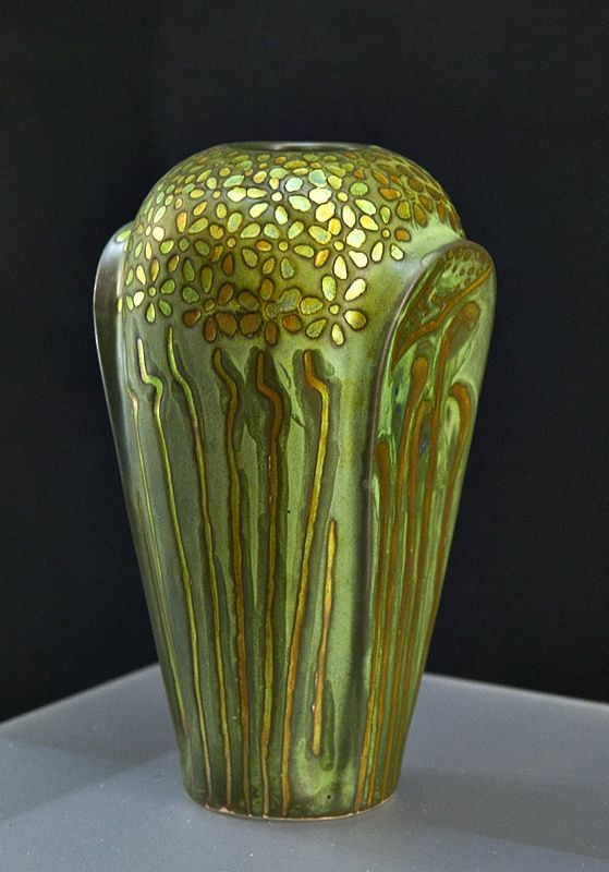 Zsolnay, Pécs, Eosin-Glaze Decorated Earthenware Vase