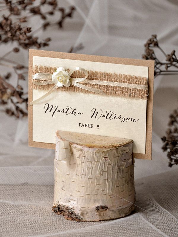 Rustic Place Card Holder with Place Card  Birch от 4LOVEPolkaDots, $3,00