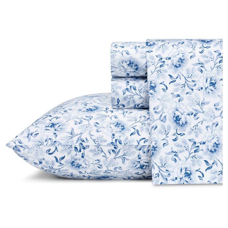 Lorelei Sheet Set (Queen) Indigo 300 Thread Count - Laura Ashley, Blue