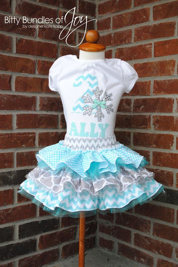 Frozen Birthday Outfit with Personalization in Sequin Gray, Silver, & Aqua Snowflake Including Tulle Skirt with Three Ruffles and Shirt