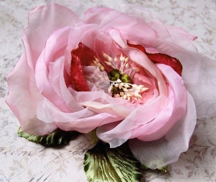 Beautiful Velvet Silk and Organdy Rose Millinery Flower Blush Berry