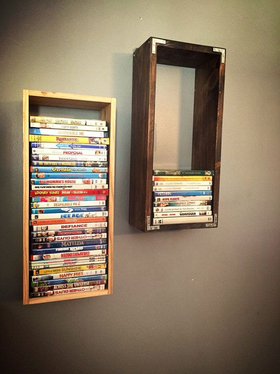 Dvd wooden wallmount display case holder