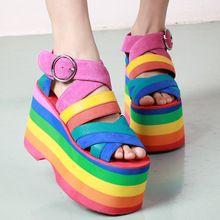 Yaz Yeni Renkli Gladyatör Sandalet Kadınlar 2016 Askı Yüksek Topuklar Dilimleri Elbise Ayakkabıları Kadın Roma Stili Platformu Sandalet Botaş (Çin (Anakara))