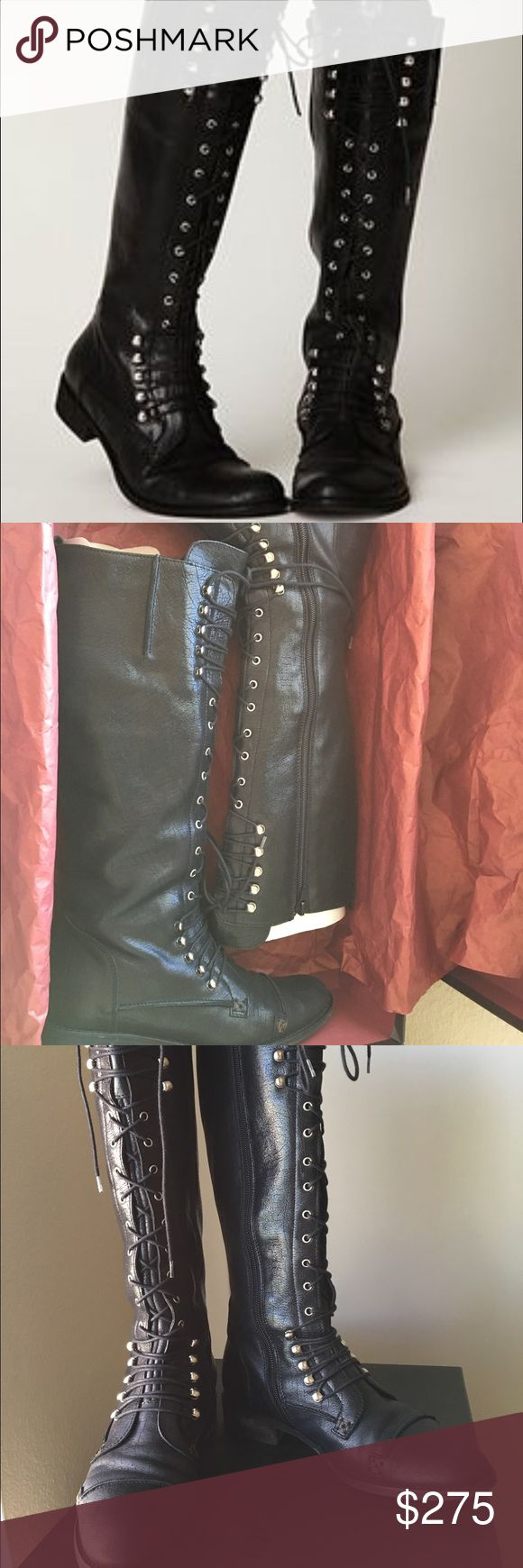 """Free People """"Registry""""  boots by Charles David Gorgeous, rare find featured on Free People by Charles David. Originally retailed at $495 and are very hard to find. Only worn them a few times. The boots remain in excellent condition. Very minimum signs of wear. ‼️Please note, they are marked as size 5 but they run a bit large. They could possibly fit a size 5 1/2 to 6 with NARROW FEET ONLY‼️ 🚫No trades🚫 Details: - Round toe - Lace-up vamp - Zip side closure - Approx. 1"""" heel - Made in Italy…"""