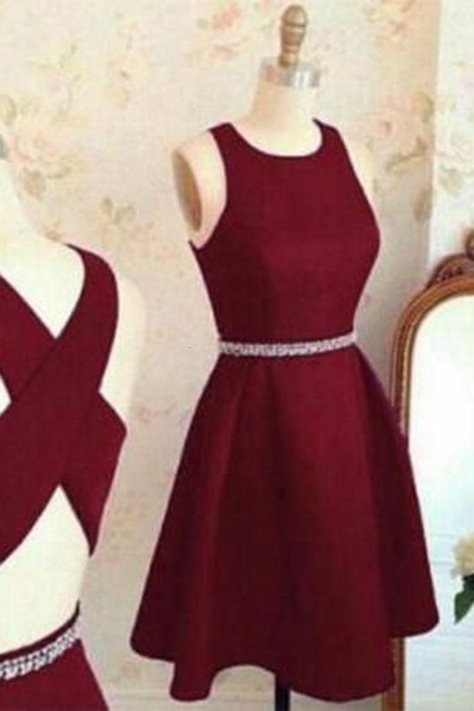 Burgundy chiffon round neck A-line cross back short prom dress,simple dress for teens