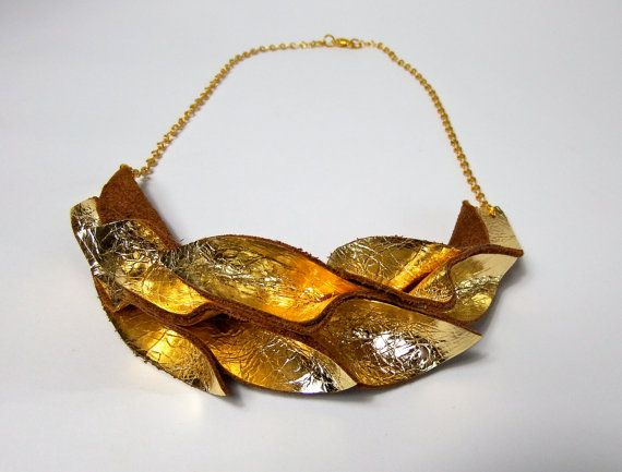 leather necklace golden floral shape leaves by LittleHamburgLab