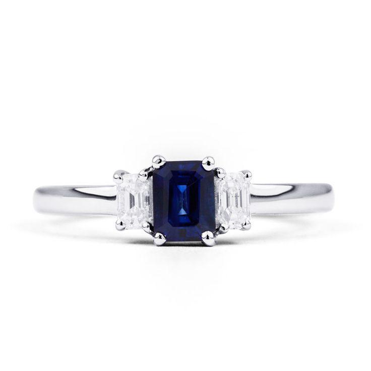 Blue Sapphire Engagement Ring 18k White Gold  #bluesapphirering #diamondboutique