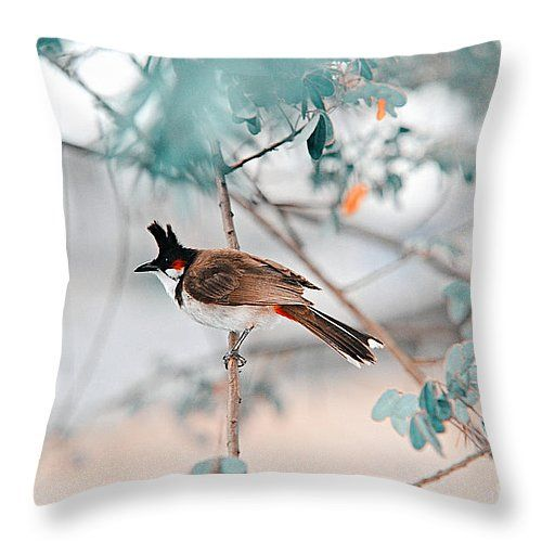 Red-whiskered Bulbul. Nature In Alien Skin by Jenny Rainbow. #Pillow #Cushion #HomeIdeas #Blue #InteriorDesign #Design #Nature #Decor #HomeDecor