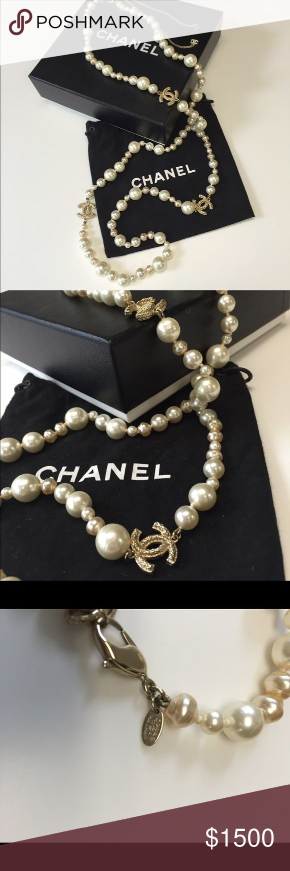 Chanel Pearl Necklace with Rope Brush Metal Beautiful Chanel Pearl Necklace. Gently worn. Necklace is 47 inches with additional length in the draping clasp. Clasp has two additional CCs. Brushed metal rope CCs. Size of CC comparable to a quarter. Original box and bag included. Necklace purchased at Chanel on Michigan Ave in Chicago. CHANEL Jewelry Necklaces