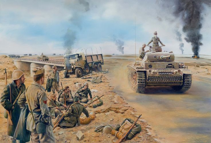 Panzer III passing Italian troops Panzer III passing Italian troops