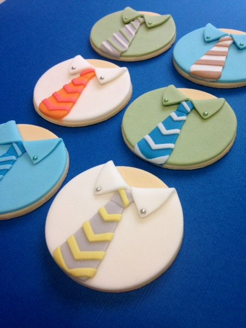 Fondant Shirt and Tie Cupcake Toppers Fathers by CherryBayCakes, $35.00