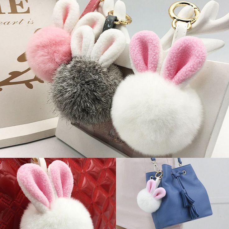 Cute Real Rabbit Fur Ball Pom Pom Ear Bag Charm Accessory Key Ring Chain Holder #Jacc