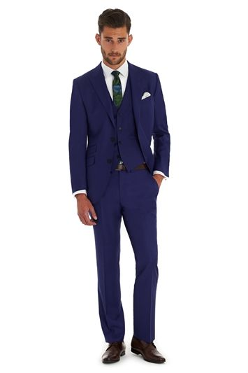 Moss 1851 Tailored Fit Italian Cloth Bright Blue 3 Piece Suit