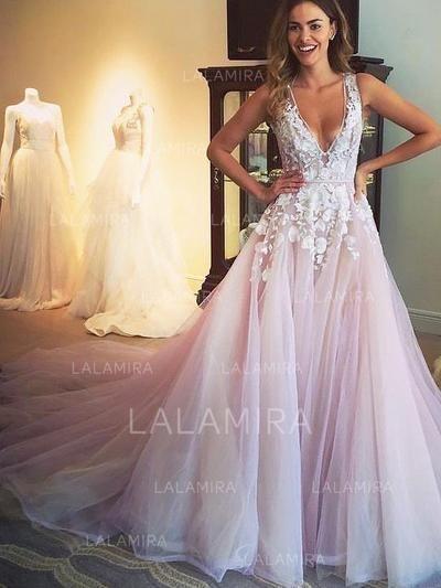 29b0e5af819 A-Line Princess V-neck Sweep Train Prom Dresses With Appliques Lace  (018210928) lalamira.com