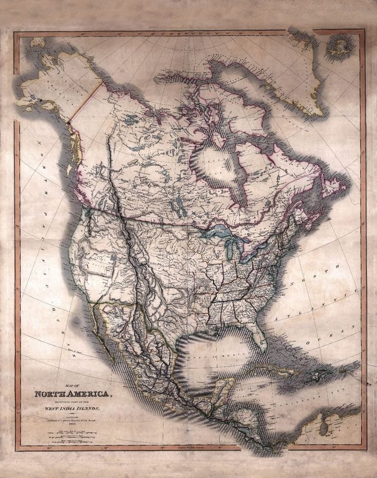 1849 North America MAP Canada Mexica Antique