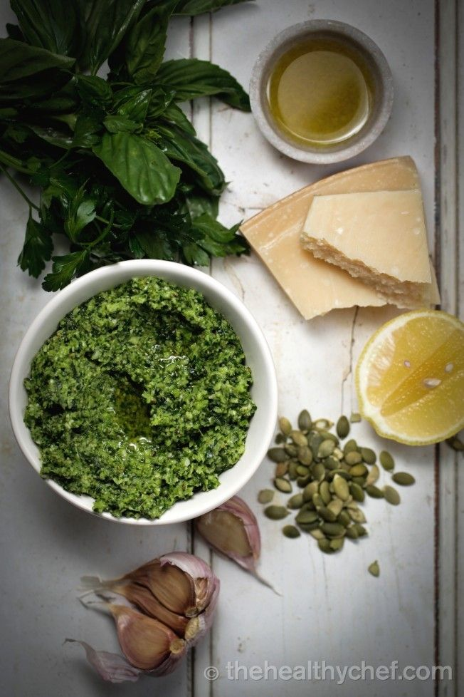 Superfood pesto (with broccoli, basil, parslety, spinach, lemon, parmesan, garlic, pumpkin seeds + olive oil) - Teresa Cutter, the Healthy Chef.
