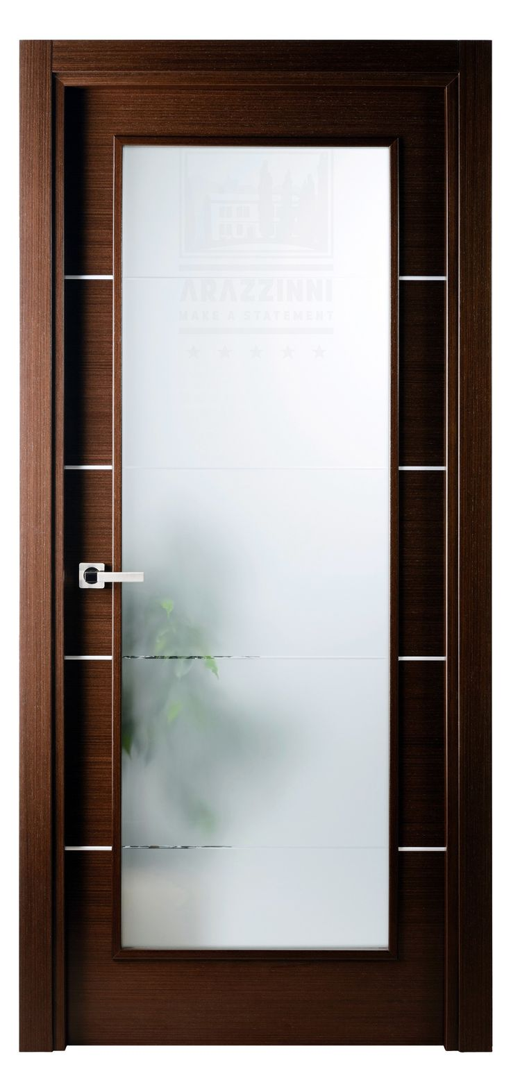 Single interior glass doors - Mia Vetro Interior Door In Wenge Finish With Frosted Glass