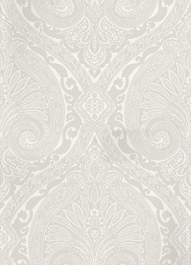 Khitan French Grey (NCW4186-02) - Nina Campbell Wallpapers - Named after the ancient nomadic tribe from the North of China, this opulent wallpaper features a large scale paisley damask in matt and metallic colourings. Shown here in matt french grey and white. Other colourways are available. Please request a sample for a true colour match. Large scale pattern repeat.