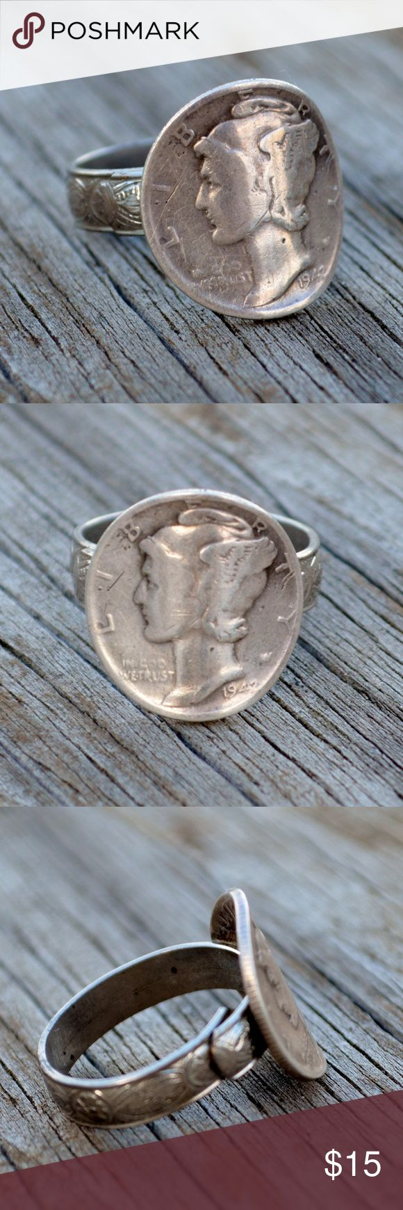 Mercury Dime Adjustable Silver Band Ring Size 8 Up for sale is one vintage ring, as pictured. It features a silver tone metal band that is adjustable (currently sized to about a size 8) with a silver Mercury Dime soldered to the front at a curvature. It is in good, vintage condition. It is a really cool coin ring, and appears to have been hand made. It is in good condition and ready for wear. Jewelry Rings