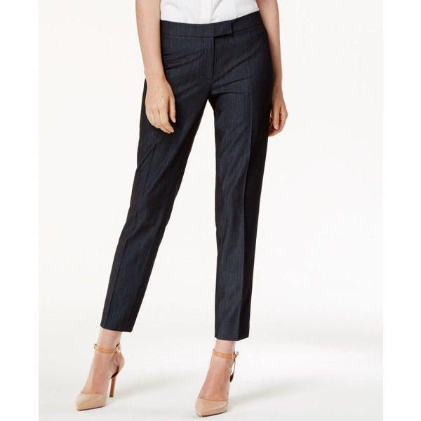 Anne Klein Denim Trouser (1,185 MXN) ❤ liked on Polyvore featuring pants, denim, slacks pants, white pants, anne klein trousers, denim pants and dress trousers