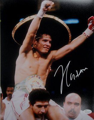 Julio Cesar Chavez Sr Signed Autographed 16x20 Photo Hands Up in Ring Right JSA