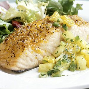 Grilled Salmon with Citrus Salsa: Carb Grams per Serving: 11.  Just a few simple ingredients transform seaffod steaks into a mouthwatering dish.  Chilled leftovers taste great for breakfast to fulfill your daily protein needs.Seafood Recipe, Low Carb, Grilled Salmon, Citrus Salsa, Grilled Fish, Diabetic Recipes, Healthier Seafood, Healthy Recipe, Diabetes Recipe