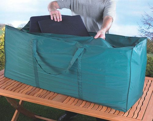 GARDEN CUSHION STORAGE BAG Ensure your garden furniture cushions continue to look as good as new with this storage bag. For indoor storage. Made from non-woven plastic. Size 122 x 55 x 39cm